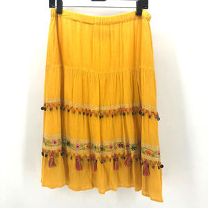 Double D Ranch M  Yellow Tiered Coin Tassel Skirt